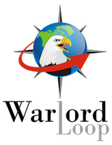 Warlord Loop Logo-- a bald eagle head in front of a globe with compass points and a red arrow.